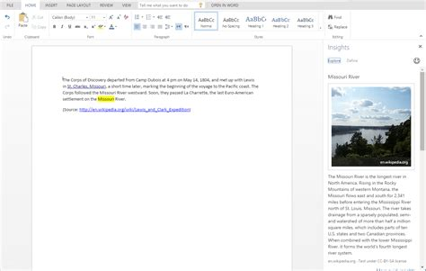 Bing Insights Integrated Into Microsoft Office Word Online