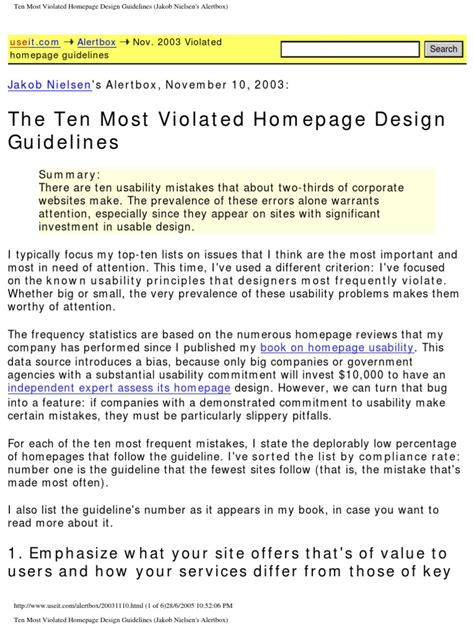 Ten Most Violated Homepage Design Guidelines (Jakob